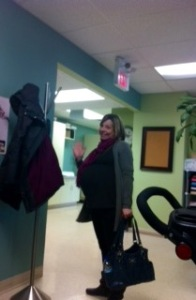 Me and my giant belly waiting to see my doctor.